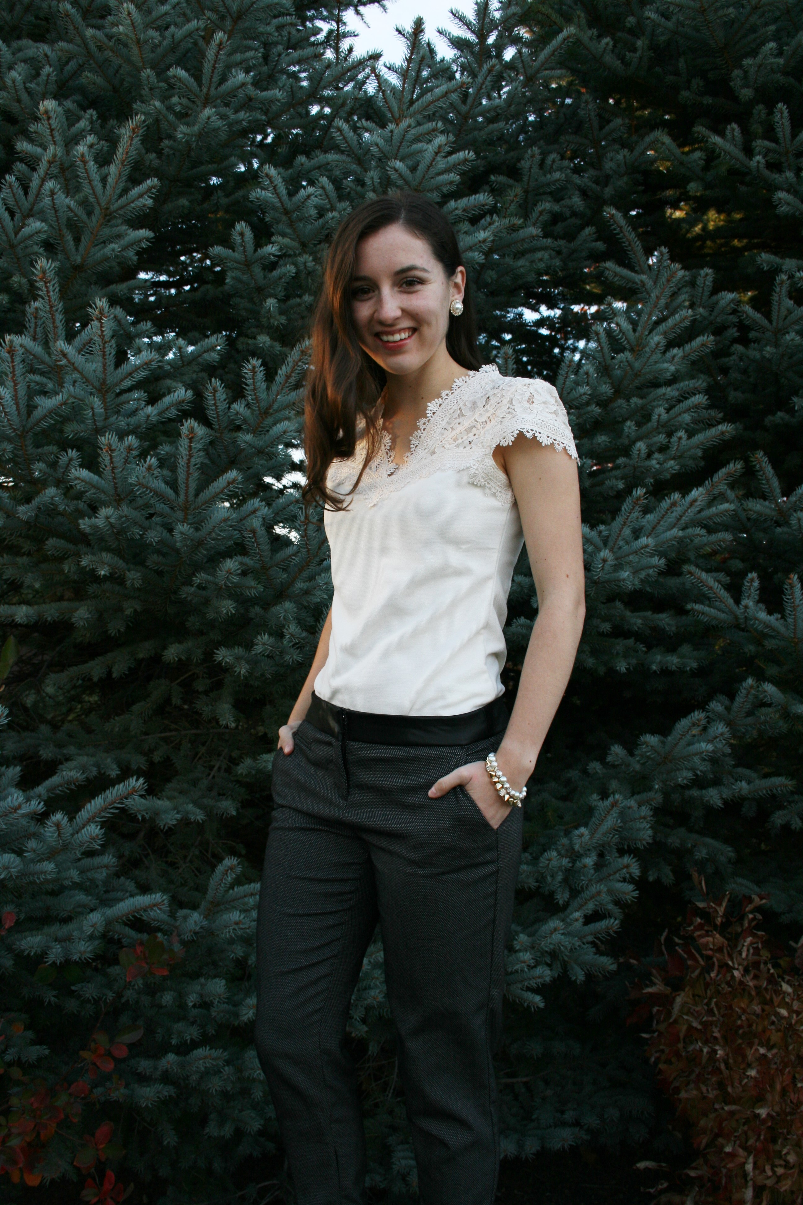 lace H&M blouse, work wear, corporate fashion