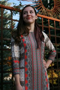 work dress, JCPenney, patterned dress, head scarves