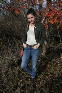 green striped tee, olive green, military jacket