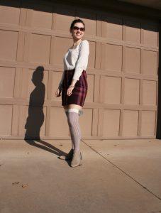 plaid skirt, pom pom knee socks, DSW, sweater weather