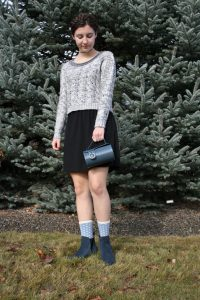 polka dot socks, blue booties, sweater weather, milkmaid braids