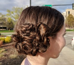 curly twisted prom hair updo