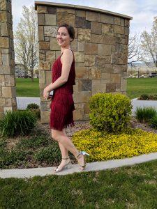 red fringe dress, silver block heels