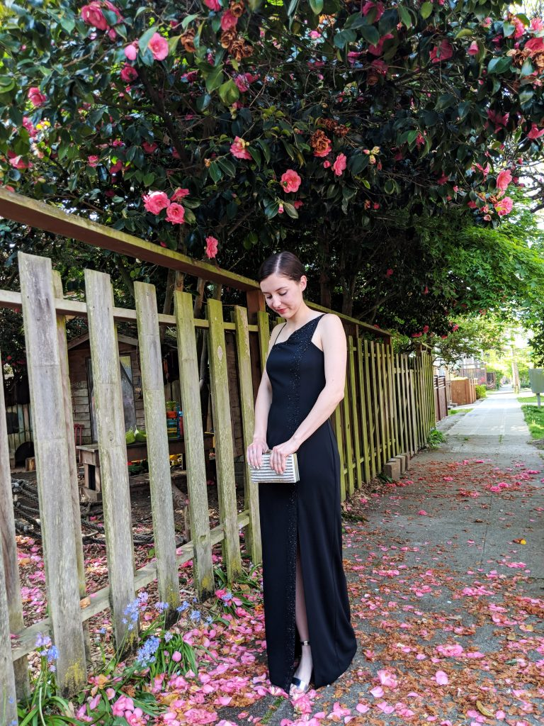 black beaded gown, silver block heels