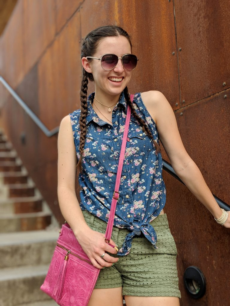 green-eyelet-shorts-tie-front-top-pink-purse