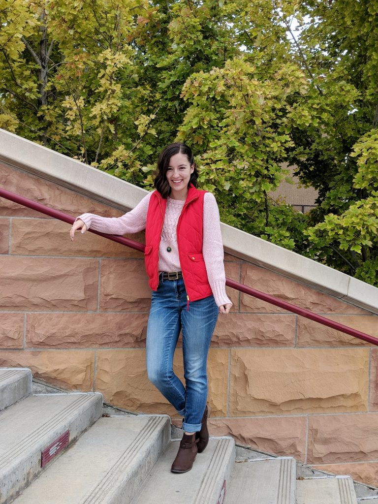 red vest, pink sweater, fall outfit, sweater weather