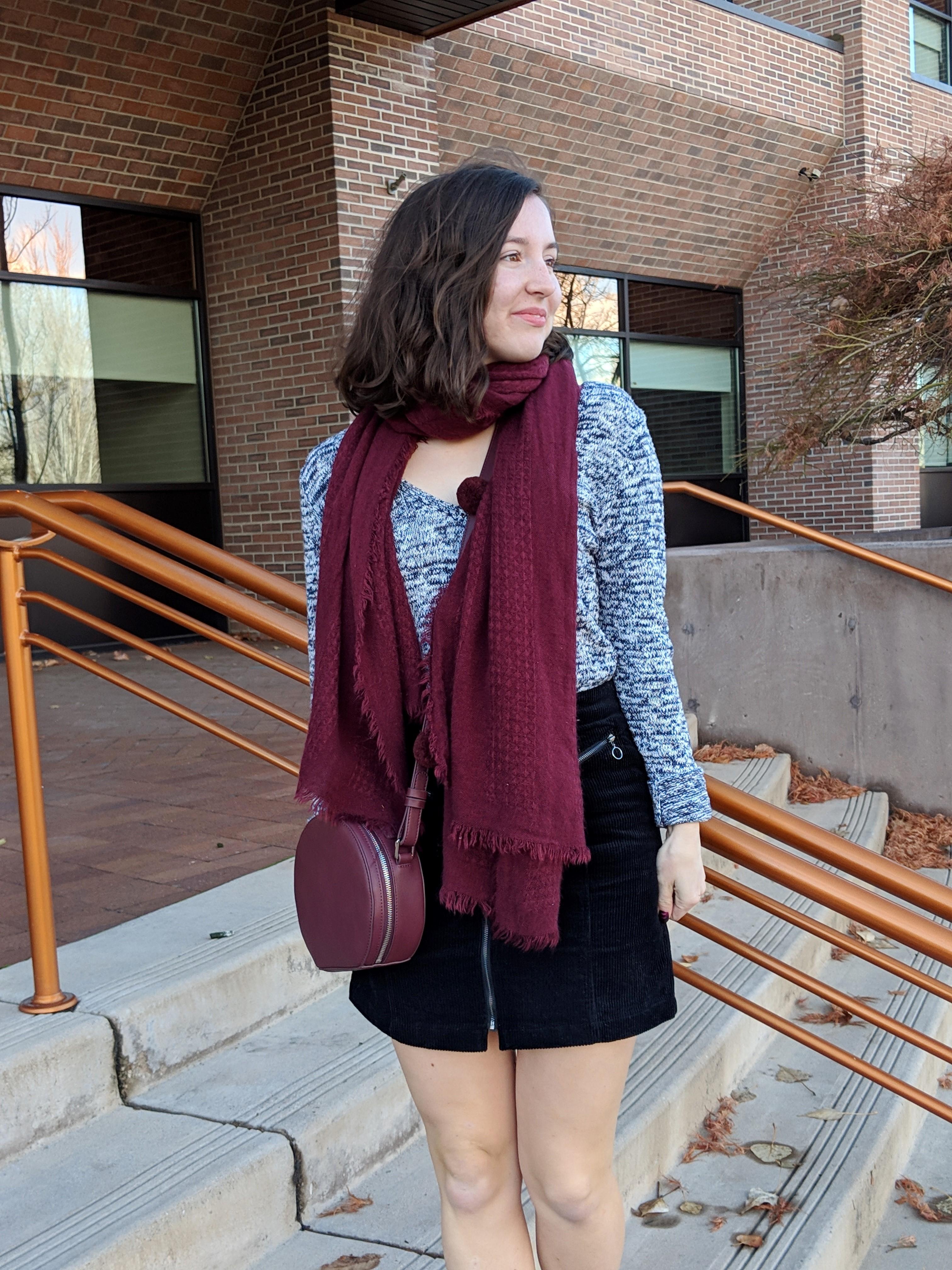 stylish circle purse and zip front mini skirt