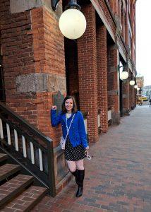 polka dots cobalt blue downtown Denver