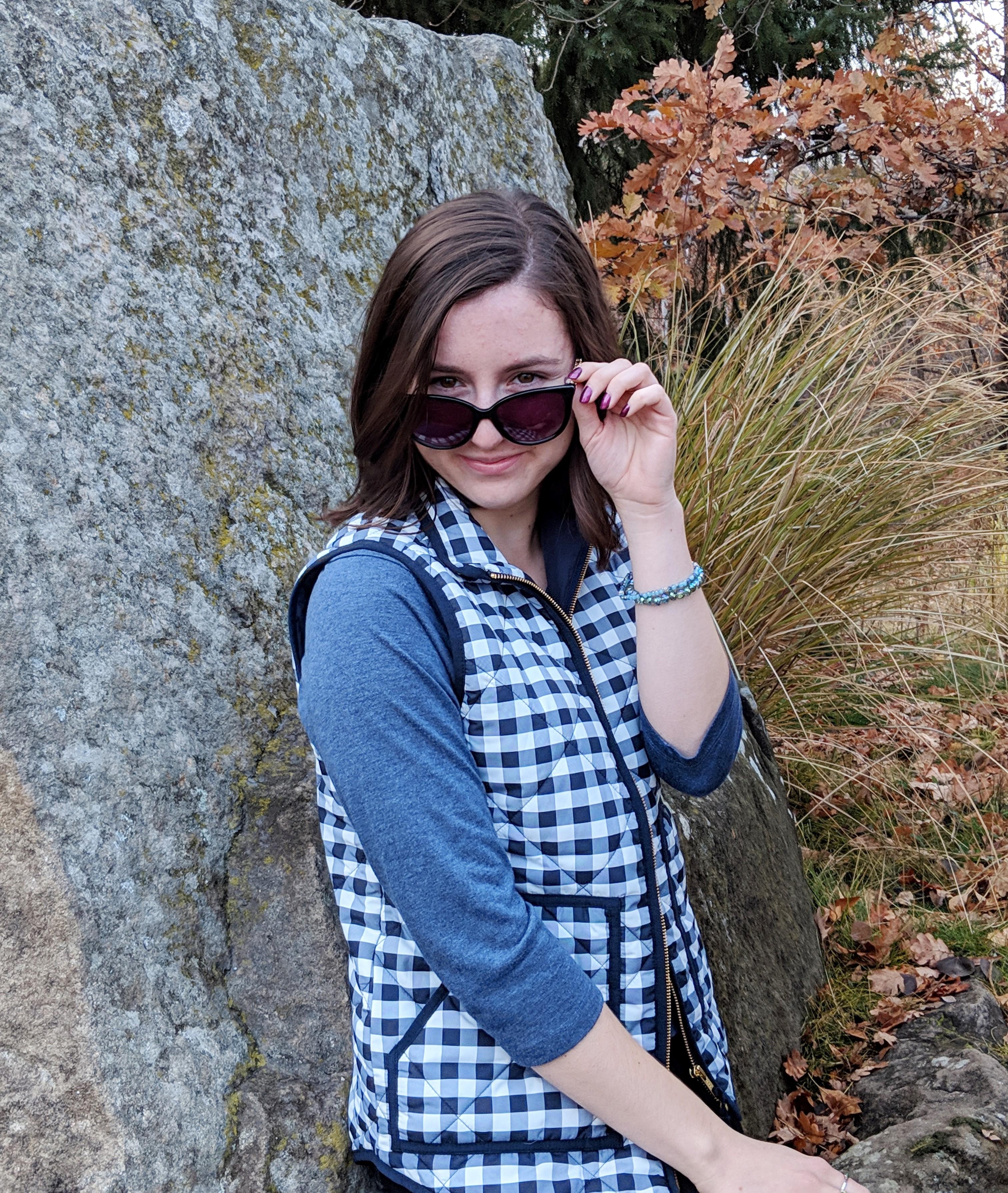 gingham JCrew vest black sunglasses