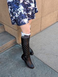 lace socks with tall black boots