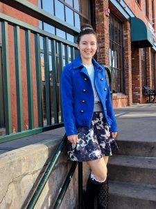 cobalt blue peacoat winter outfit
