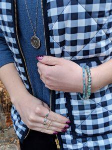 gingham quilted vest sparkly bracelets