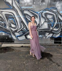 mauve tulle prom dress