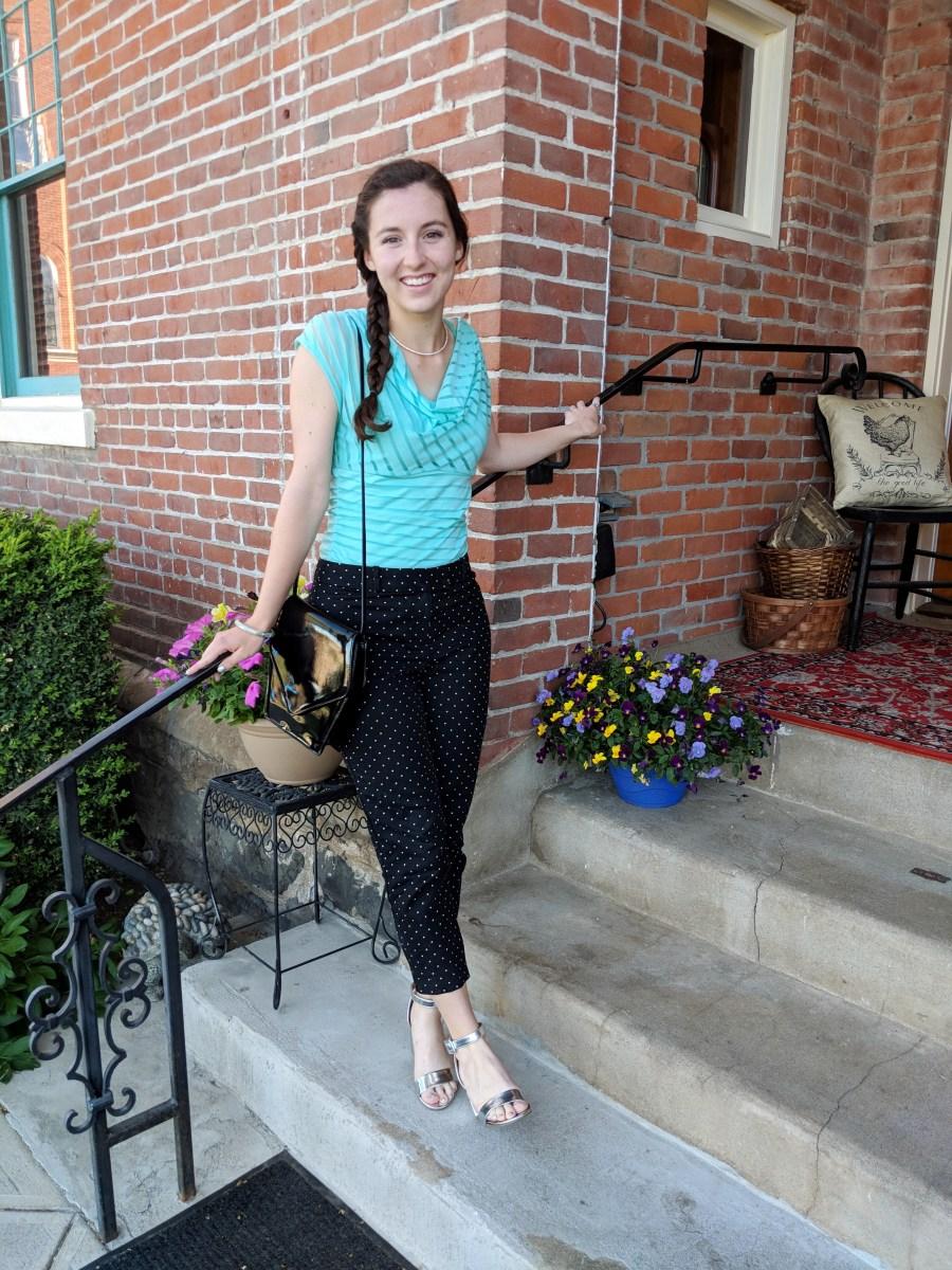 polka dot pants striped cowl blouse