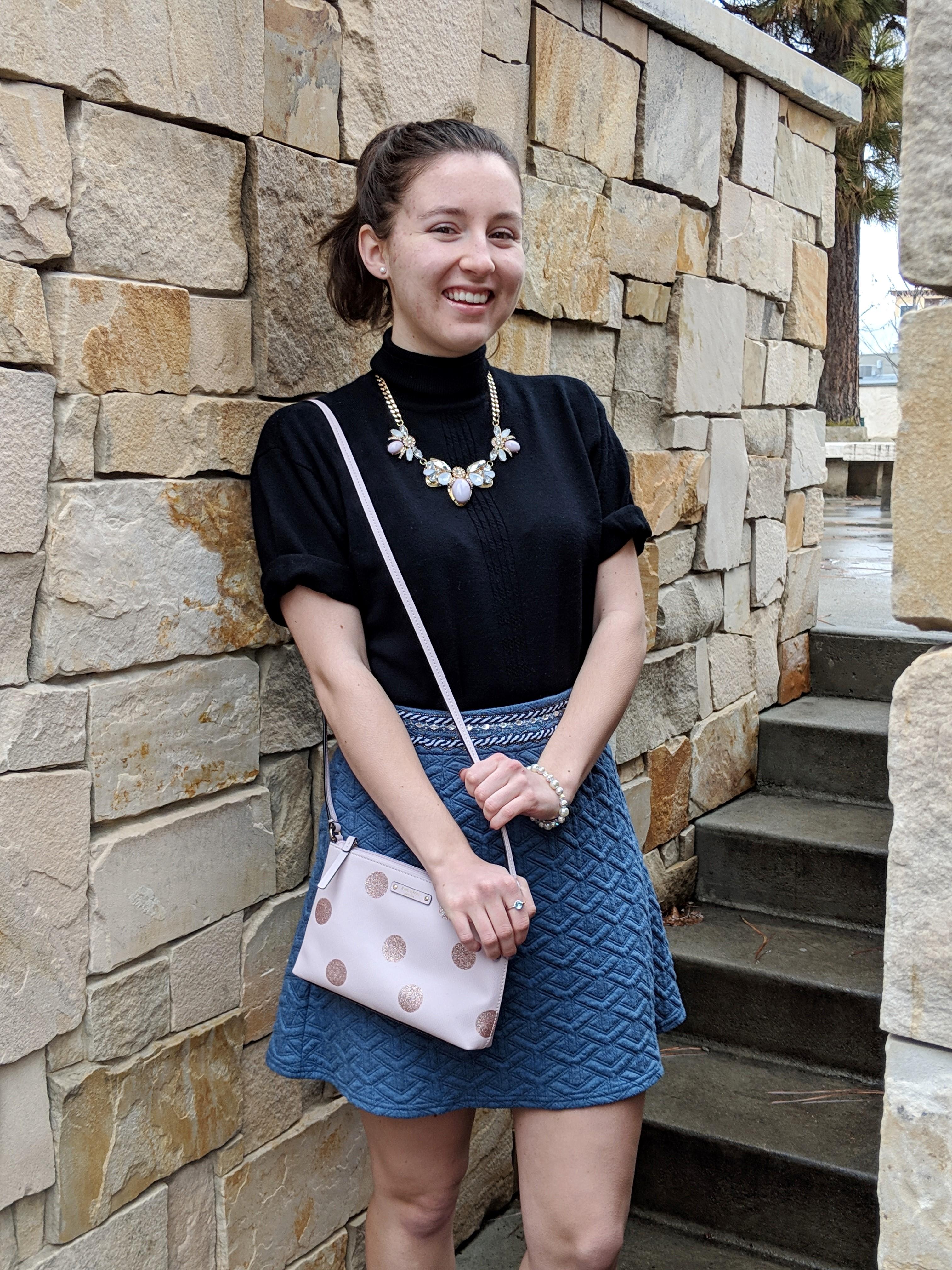 blue Francesca's skirt pink Kate Spade purse