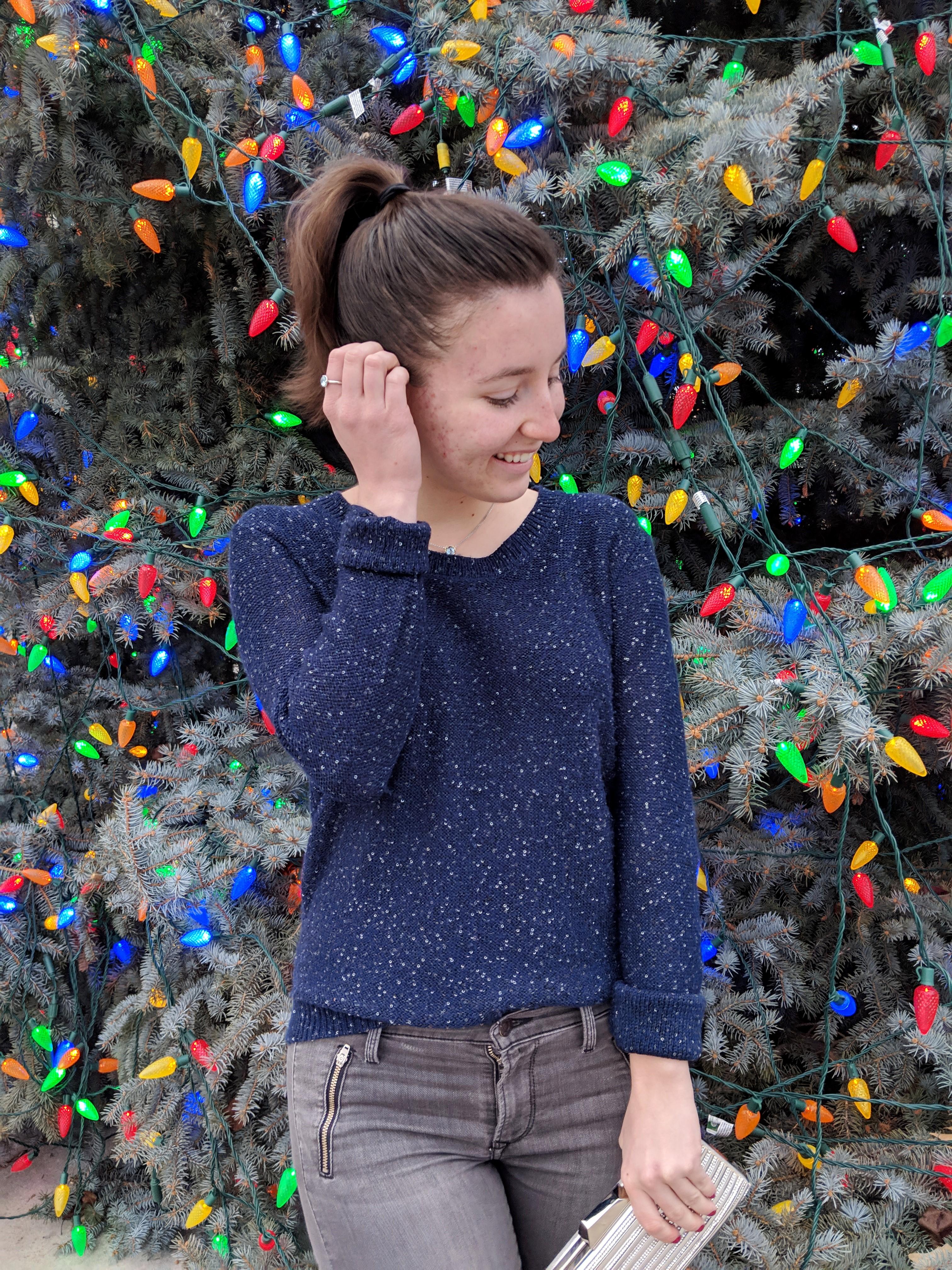 sparkly navy sweater