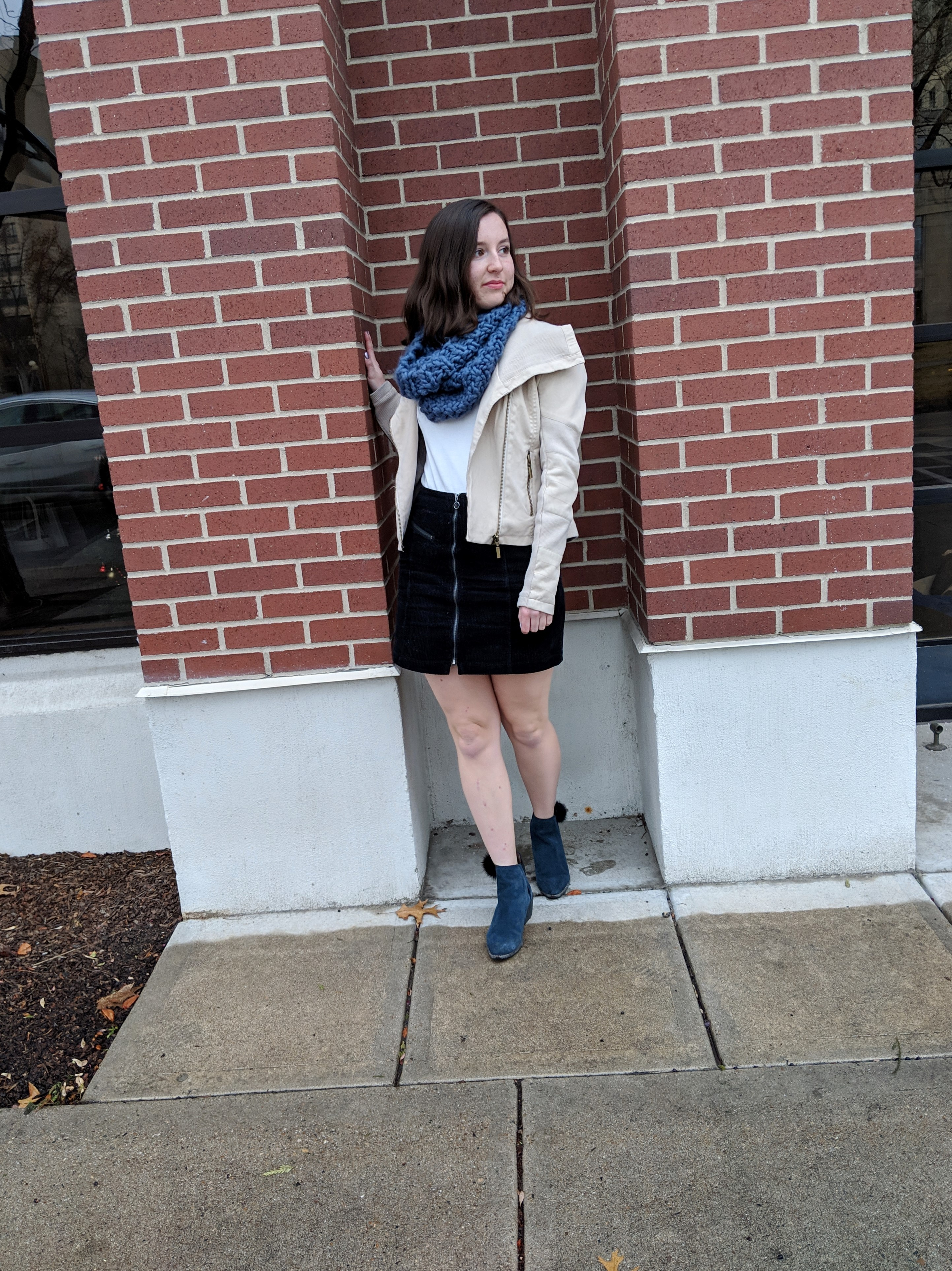black zip front skirt
