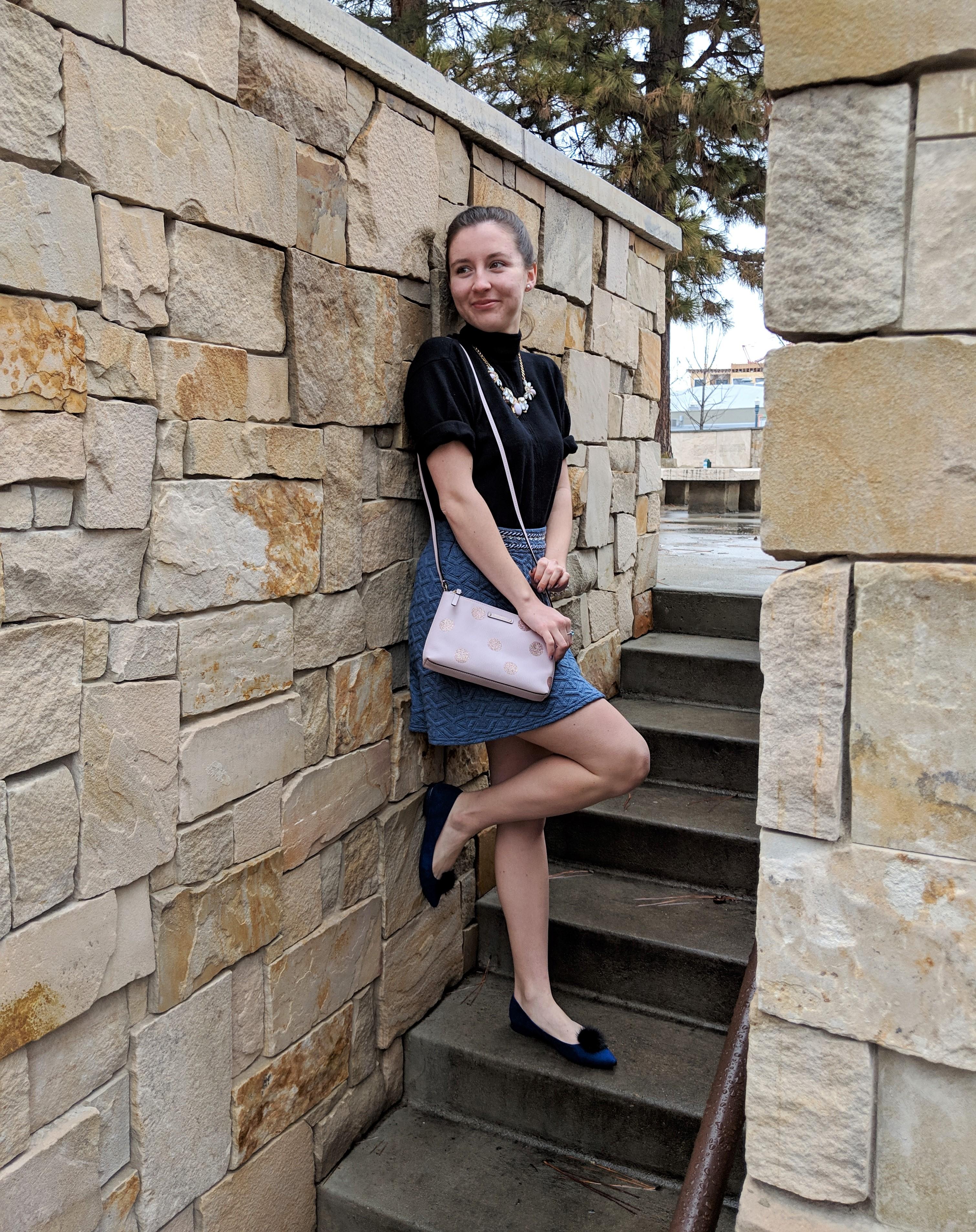 pink Kate Spade purse black turtle neck sweater