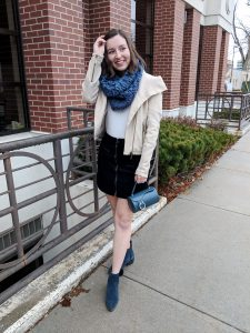 stylish winter outfit with blue suede booties
