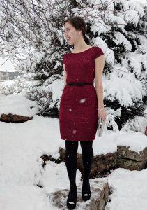 fancy red dress black tights
