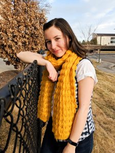 textured mustard yellow scarf and white tee