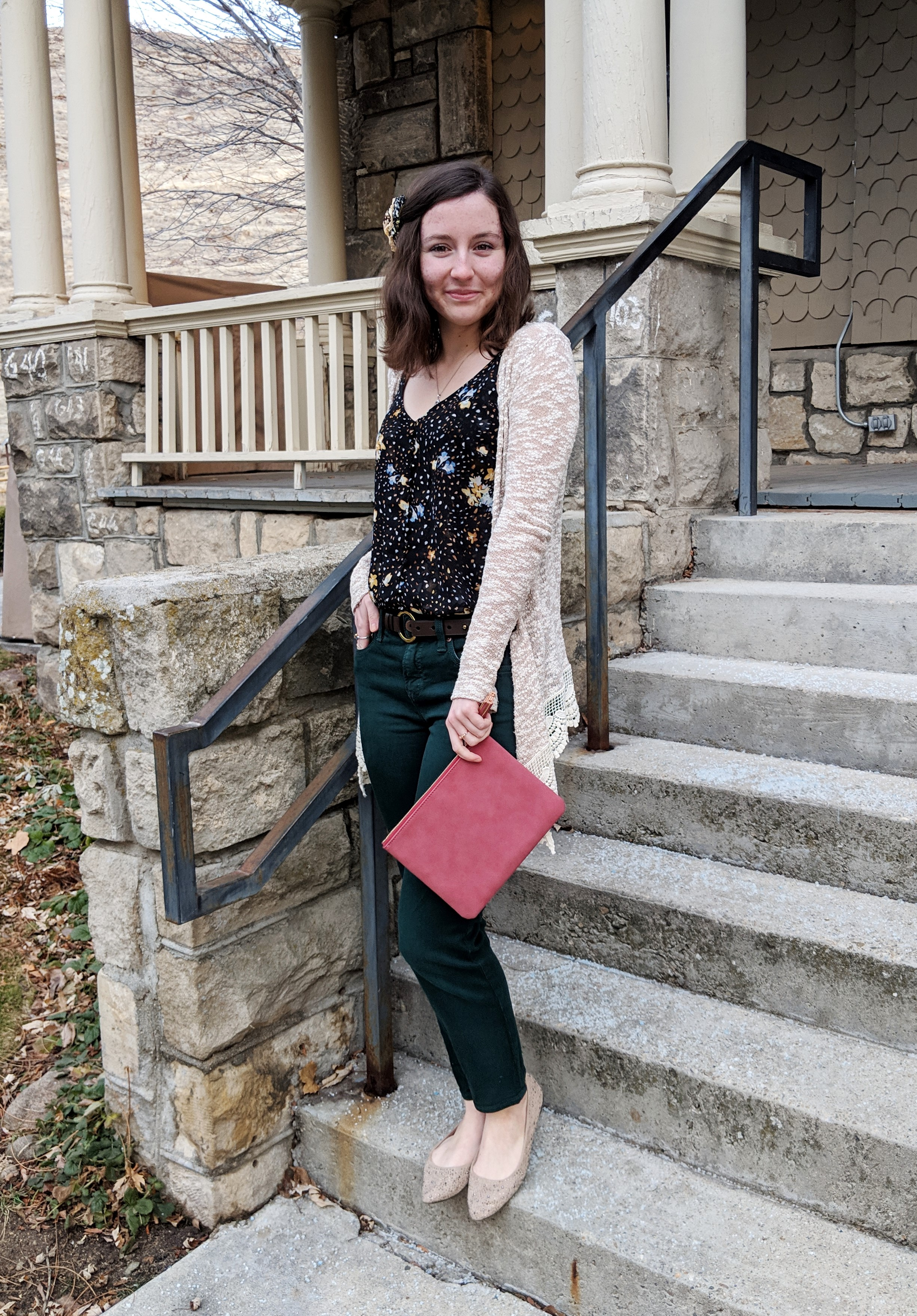 black floral cami with beige cardigan and red Francesca's purse