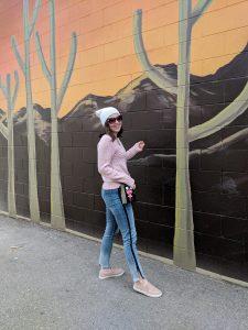 trendy denim stripe jeans