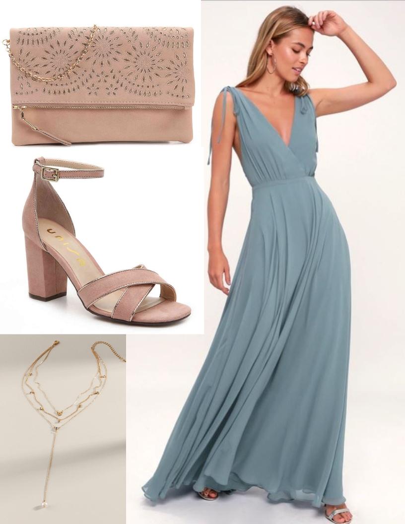 dusty blue prom dress, beige heels, beige purse, layered necklace