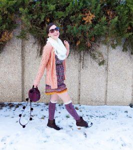 coral sweater, burgundy knee socks, brown booties