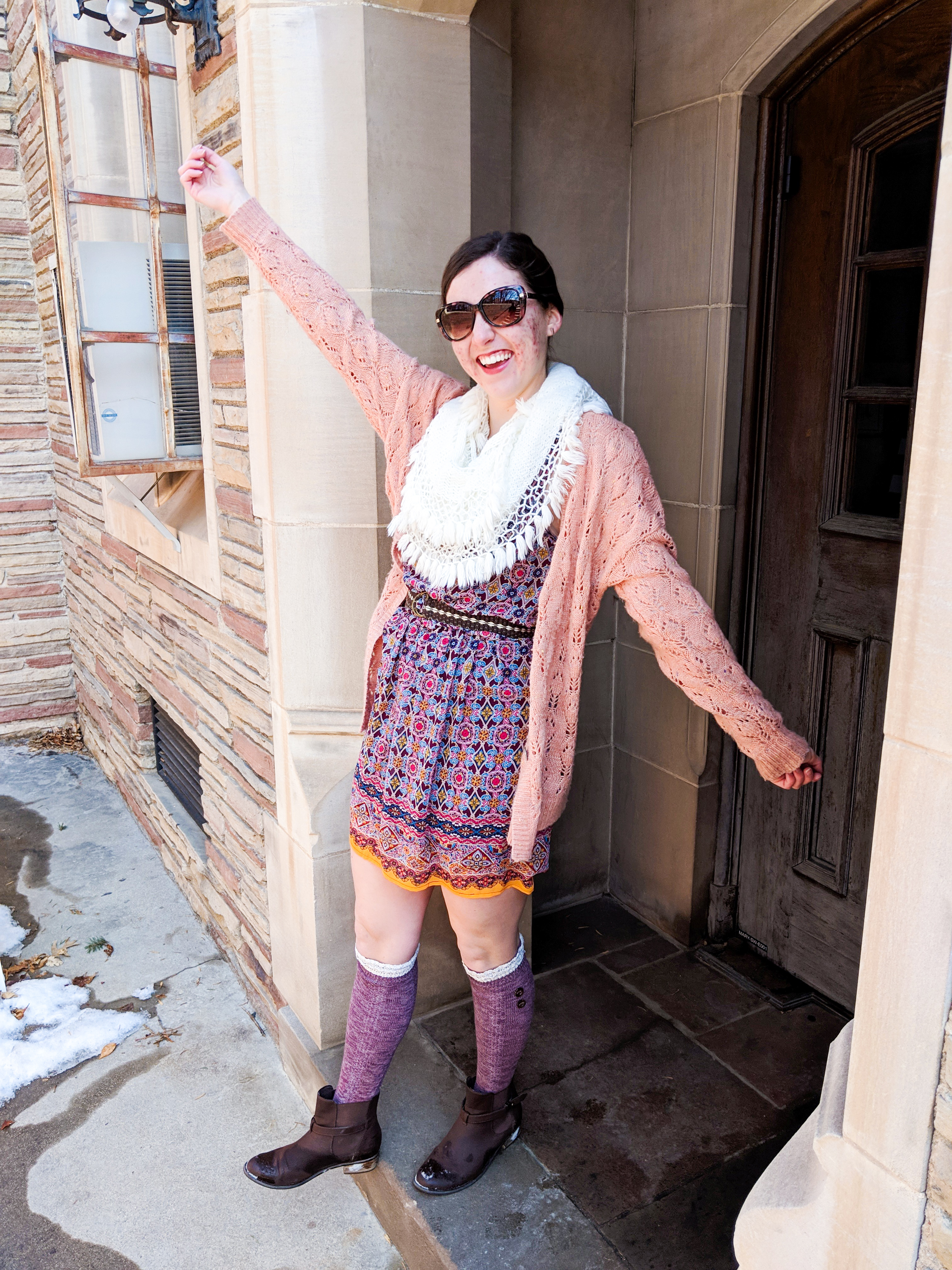 coral sweater, maroon dress, brown booties