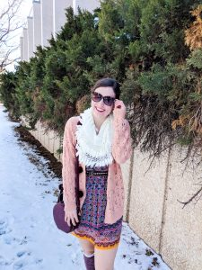 coral sweater, burgundy patterned dress