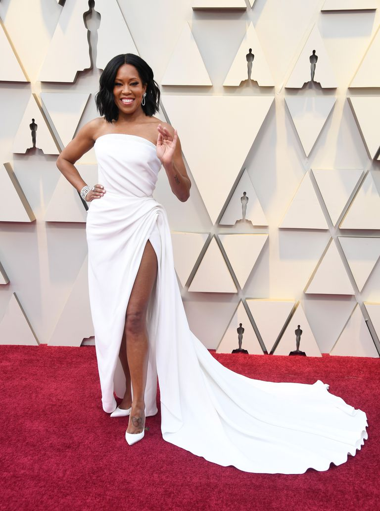 Regina King's Oscar de la Renta white draped gown