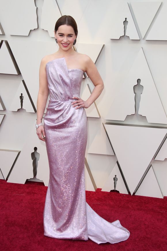 Emilia Clarke's lavender shimmery Balmain gown
