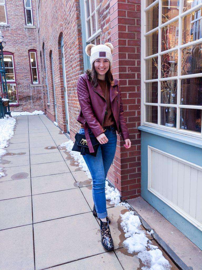 burgundy pleather jacket, Francesca's jeans, leopard rain booties