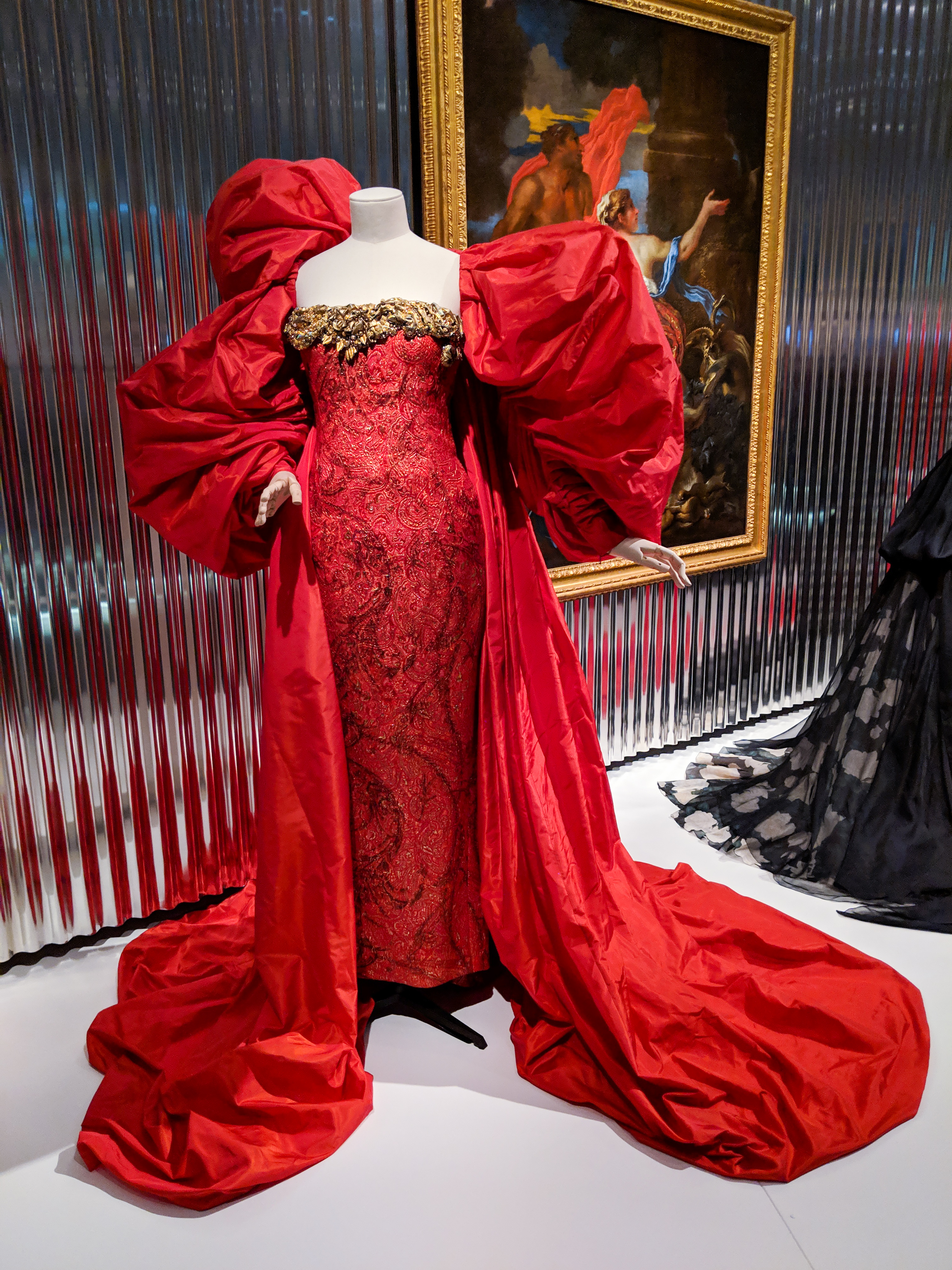 red Dior gown