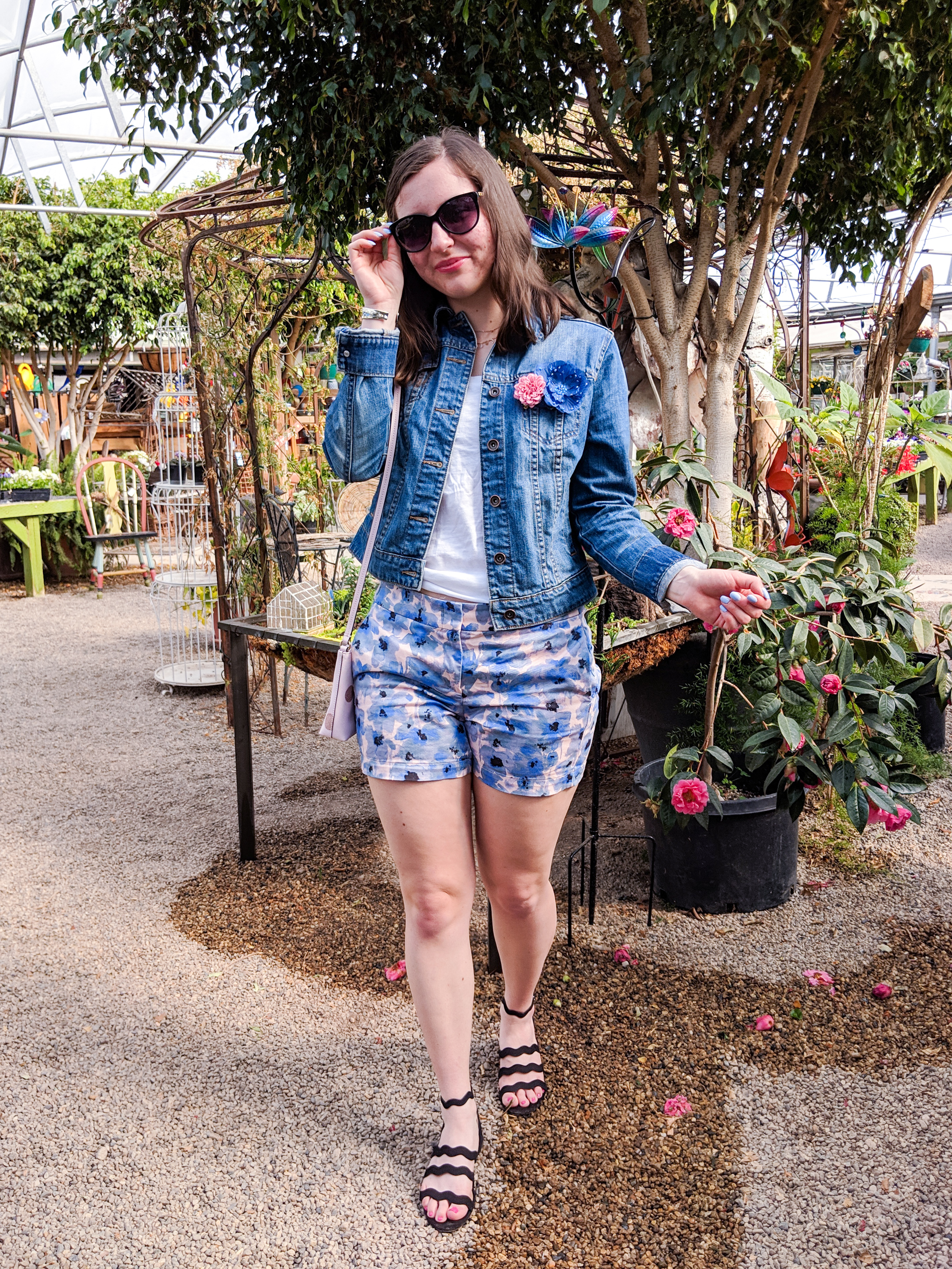jean jacket, spring look, floral shorts, black wavy sandals from Macy's