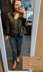 grey tee, blazer, jeans, leopard flats