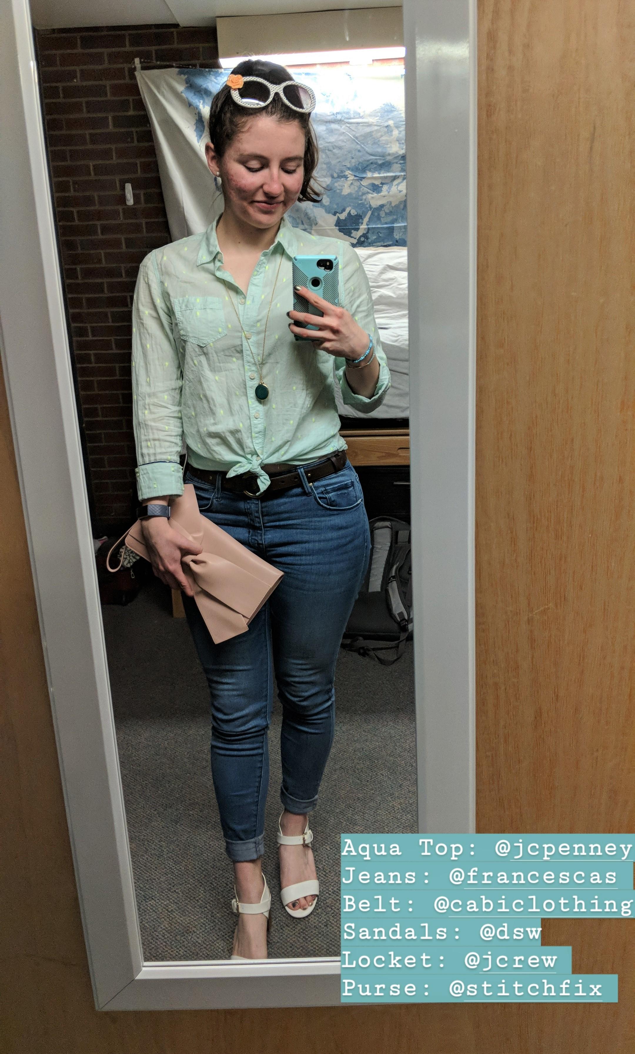 aqua blouse, skinny jeans, white sandal heels