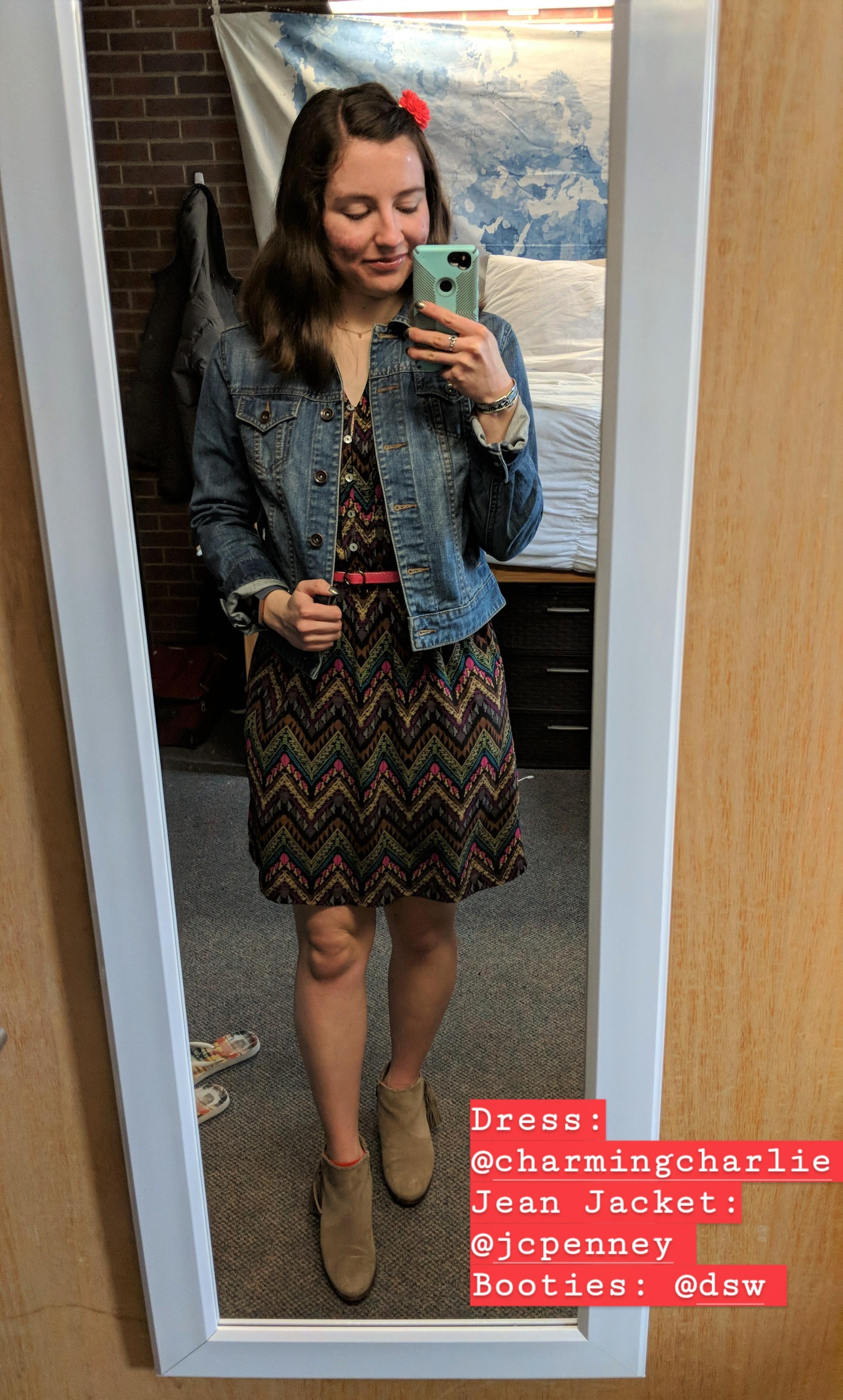brown patterned dress, denim jacket, beige booties