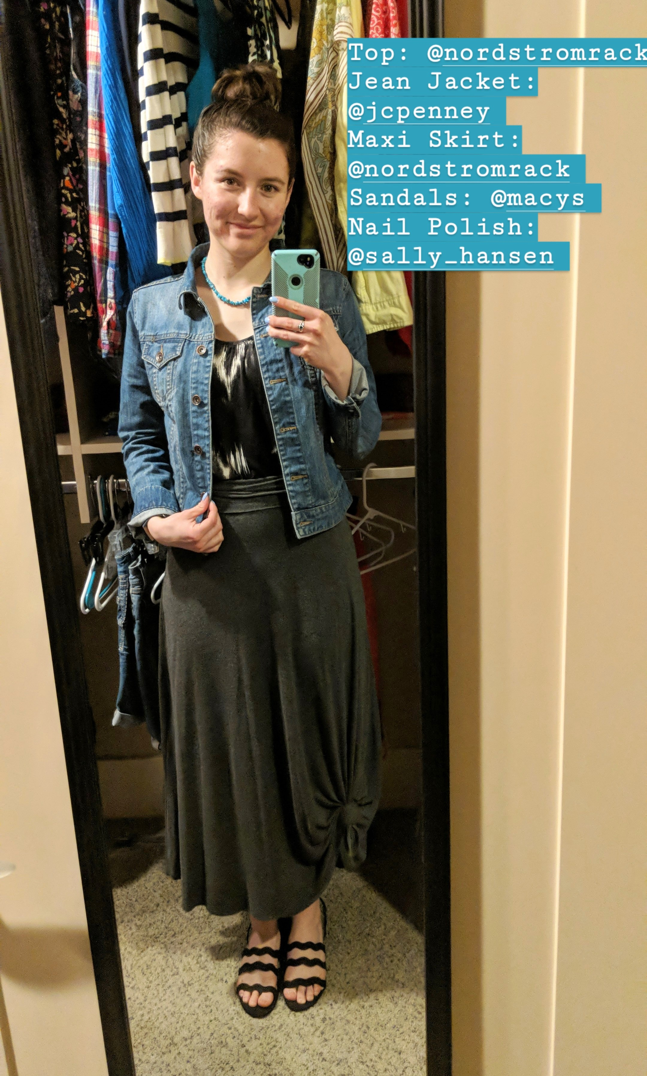 black patterned top, jean jacket, grey maxi skirt, black sandals