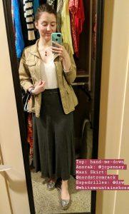 crochet top, tan anorak, grey maxi skirt, sparkly espadrilles