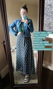 green tee, jean jacket, umbrella maxi skirt, black sandals
