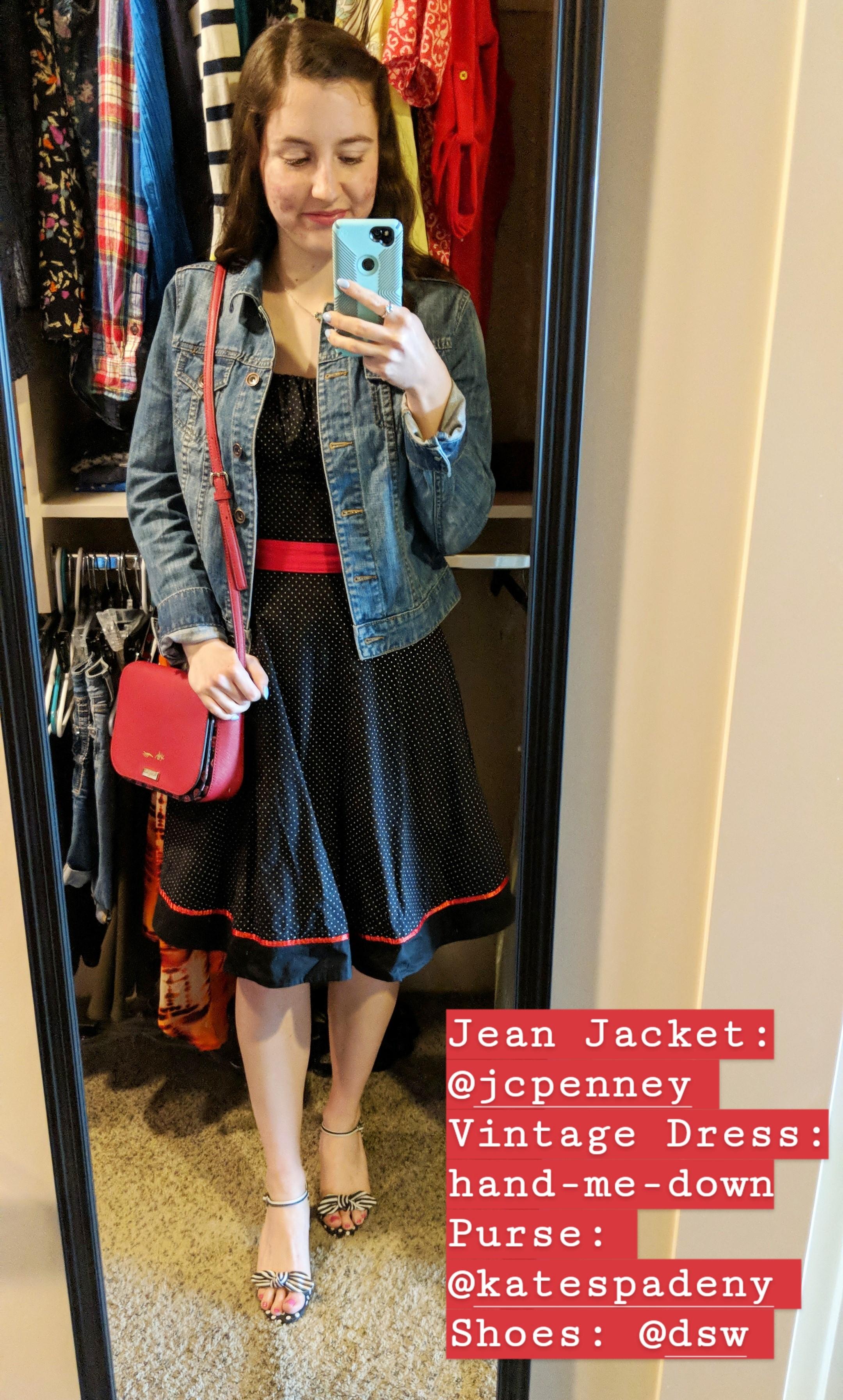 polka dot vintage dress, jean jacket, striped heels, red purse