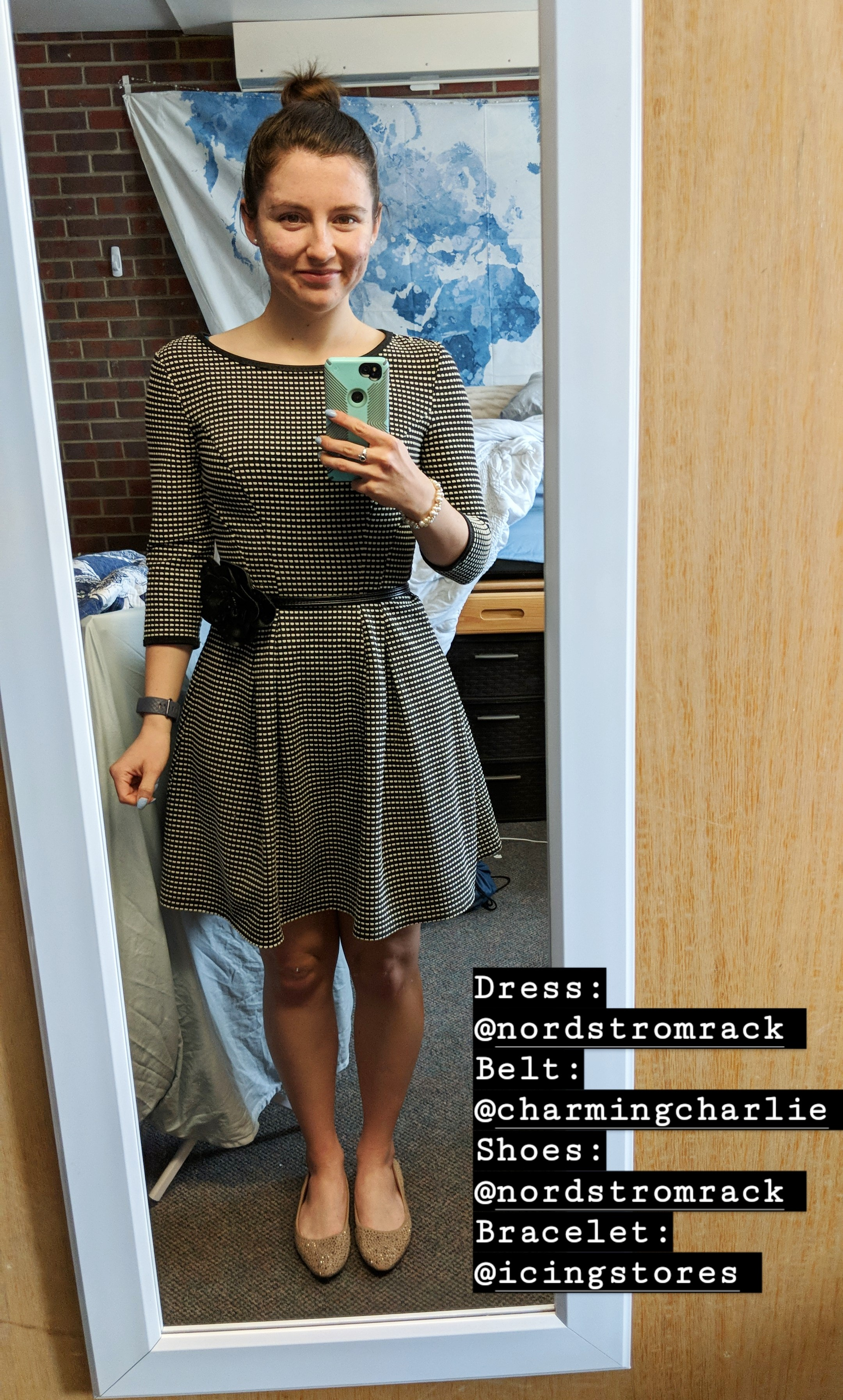 old fashioned patterned dress, beige sparkly flats