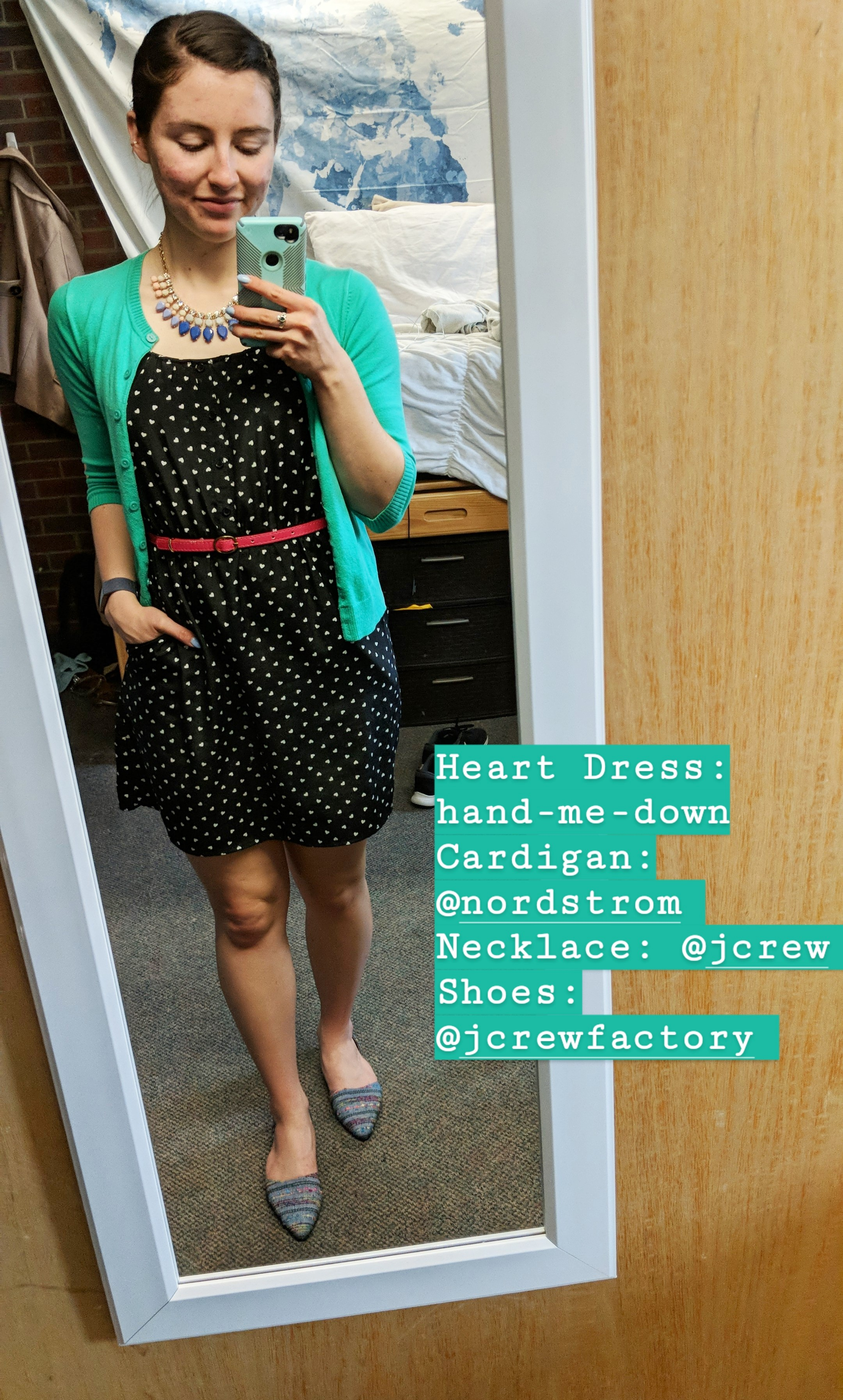 heart patterned dress, green cardigan, patterned d'orsay flats