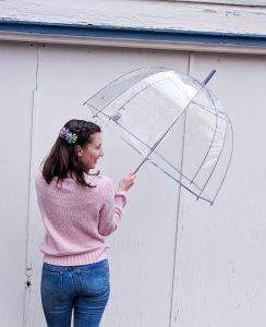 spring rain showers, pink sweater, floral hair clips