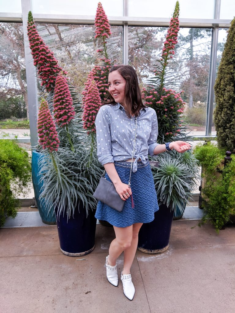 pastel blue, pattern mixing, white shoes, botanic gardens