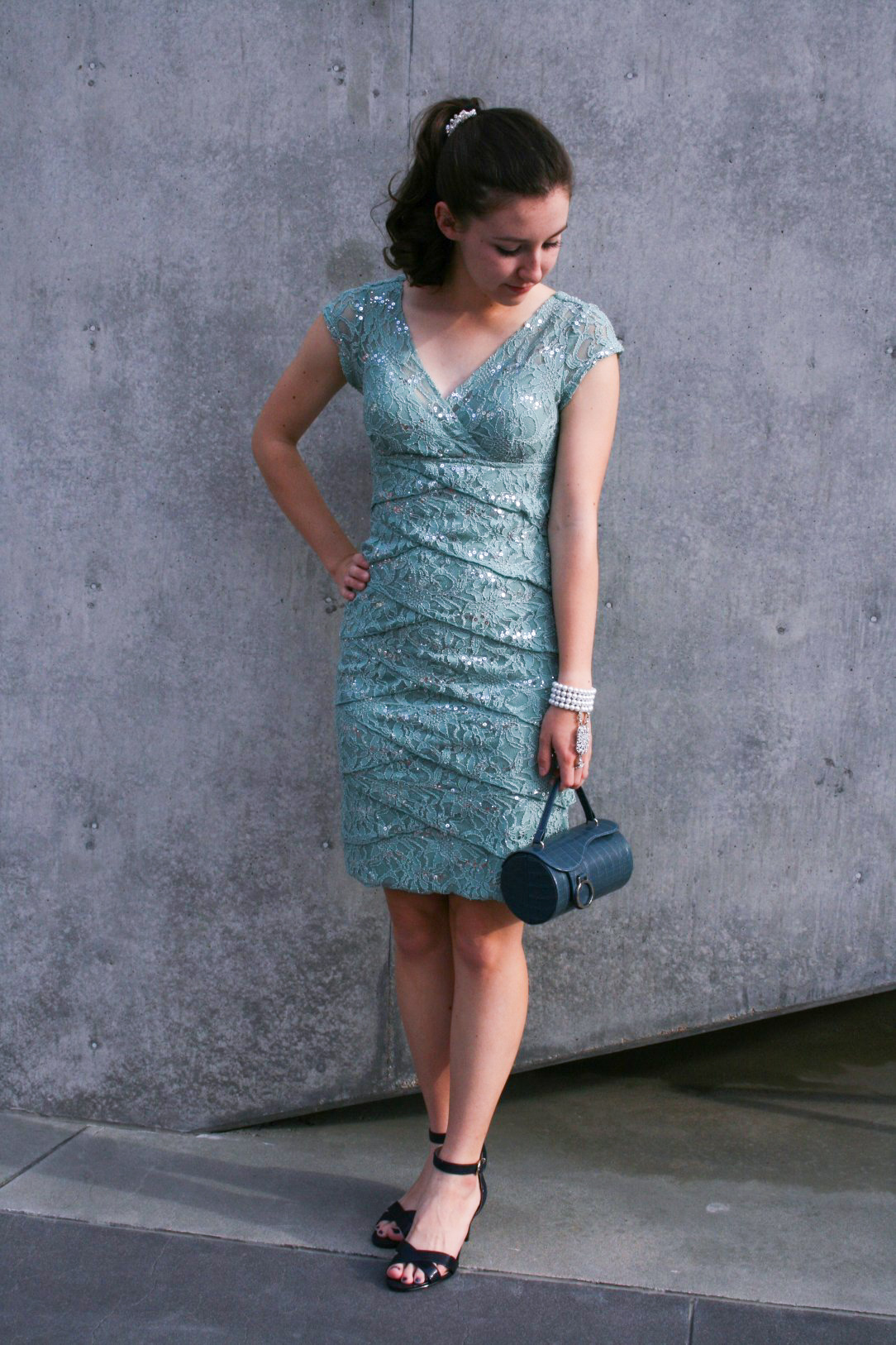 sparkly mint dress, navy heels, Easter outfit, spring dress