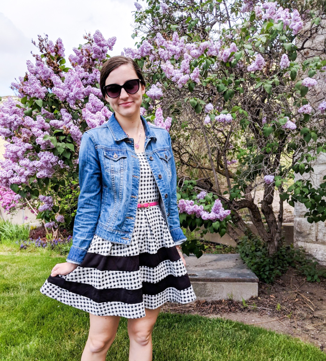 denim jacket, gingham dress, pink belt, purple flowers
