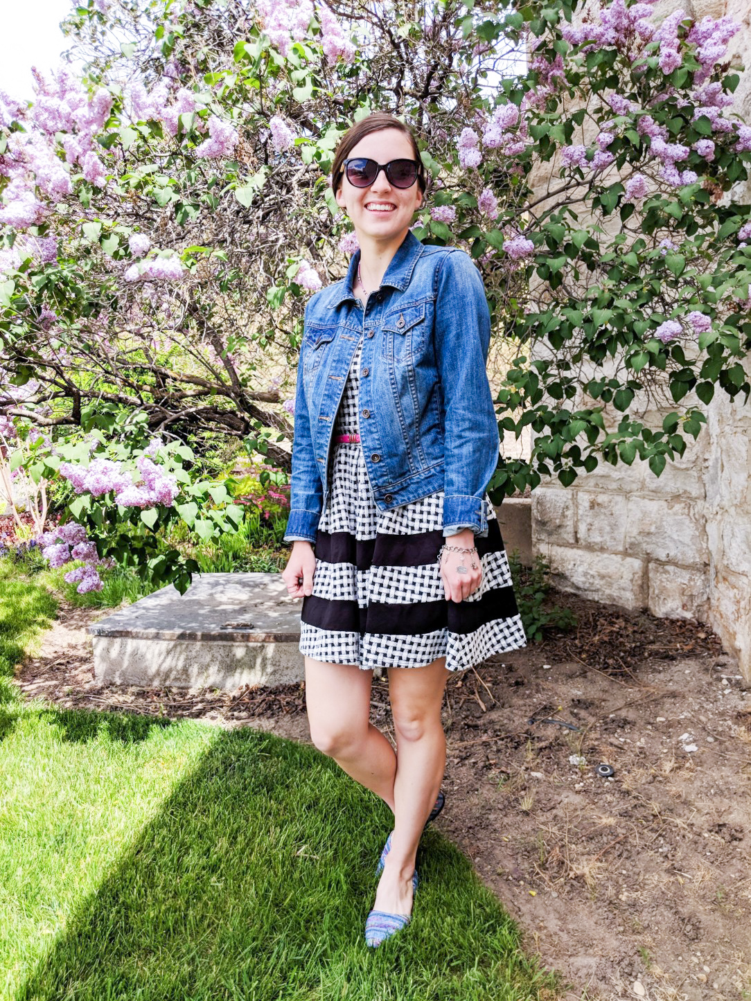 gingham dress, jean jacket, denim flats, spring outfit, Easter dress